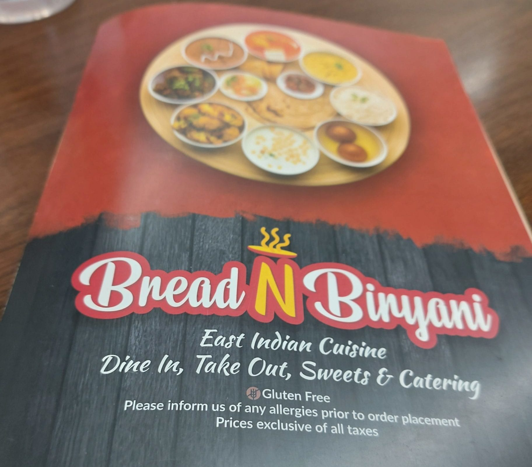 Bread N Biryani menu