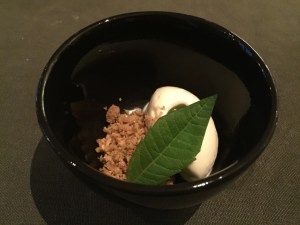 Palate cleanser: sour cream ice cream and crispy crumbs