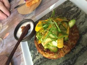 Galette de courgettes (zucchini cake), ras el hanout, crudite