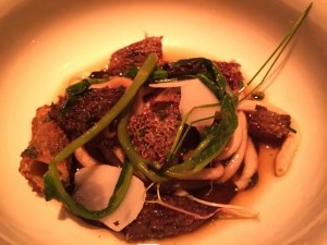 Black morel in stock, mushroom noodle and fermented shallots