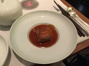 Peking duck: breast, 5 spice waffle, apple & leek, jus of duck feet