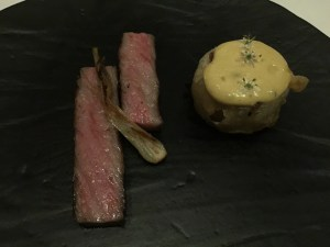 a5 wagyu beef with shunkyo radish, spring onion and bone marrow