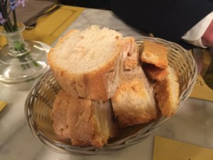 bread basket, foccacia on right