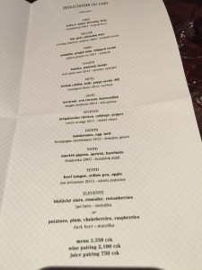 Degustation du Chef menu