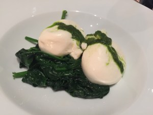 Burrata delle Murge with wilted spinach