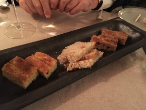 Bread tray: focaccia, long rise Tuscan bread and chestnut and walnut