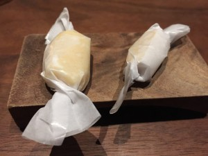 Hand-pulled yuzu and vanilla taffies