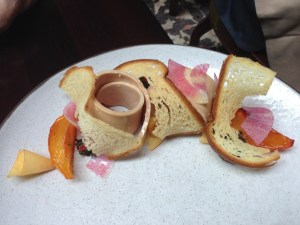 Foie Gras served with nectarines and watermelon radish