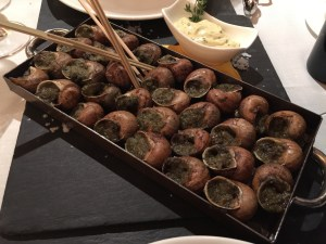 """""""La llauna"""" style snails with herbs from Pyrenees (romani, farigola, ajeddrea) and olive oil"""