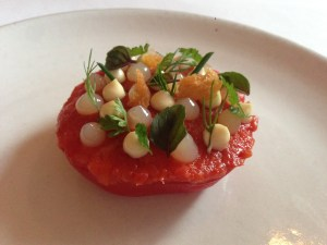 tomato salad with lobster and garlic
