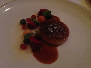 Seared foie gras with chanterelles and plums