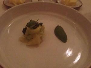 Braised celtuce with pistachio, romaine and sorrel