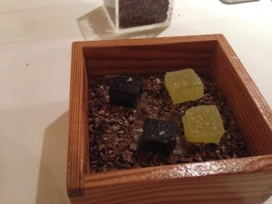 Olive oil jelly and black fudge caramel