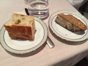 Couple of the bread choices, olive foccacia and whole wheat
