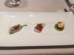 Crudo: Pacific Jack Mackerel, kale pesto, lentils, beech muchroom. Pacific snapper, prosciutto, celery, tomato. Bigeye tuna, oyster crema, crispy artichoke