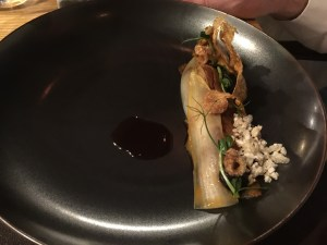 Pork belly, oysyer, kimchi, leaves of capers
