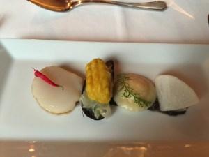 Scallop, mussel, ravioli, radish