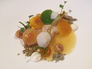 Sole with pumpkin, horseradish, orchids and atsina