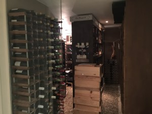 wine cellar, (note the hanging meat)