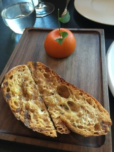 Meat Fruit - Mandarin, chicken liver and foie gras parfait, grilled bread