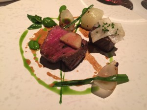 Belted Galloway beef with salt baked kohlrabi, padron and garlic