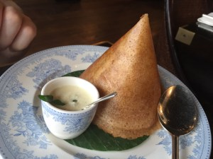 Dosa, Chettinad Duck with coconut chutney