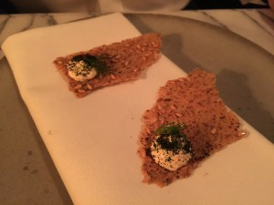 Smoked cod's roe on rye cracker with linseed