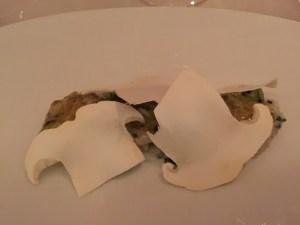 Dungeness crab shell fish consomme, charred cucumber, yuzu, pine mushroom