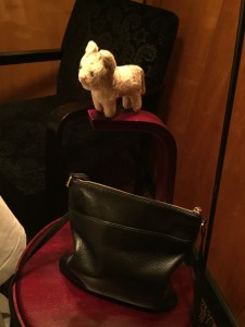 Frankie had a good view from the purse stool handle