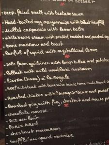 chalkboard menu