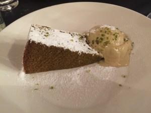 Cake of the day with pistachio ice cream