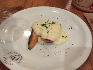 plate starts with potatoes and bread