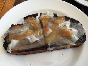 Lardo and mustard pears on toast
