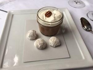 Chocolate pot de creme, bourbon chantilly, pecan cookies
