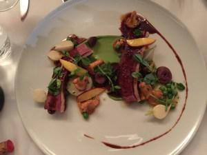 Duck magret, heart, green peas, chanterelles, white turnips, truffle