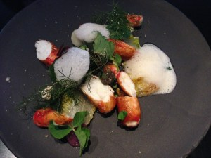 King crab from Norway with potatoes and grilled lettuce