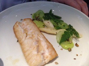 Hake served with parsley, parsley root, celery and asparagus