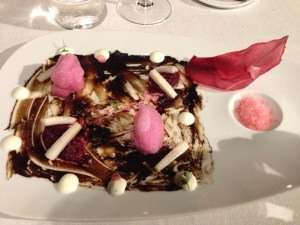 Sauteed black garlic with beet ceviche, ice rIadish and raifort cream (2013)