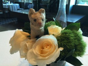 Frankie approved of the table flowers
