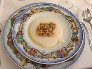 Amuse bouche: White polenta with gray schie (little shrimp)