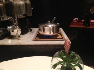 Sauce simmered tableside