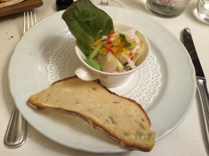 Ceviche of sea bass with fresh vegetables