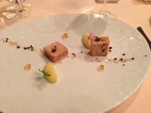 Terrine of duck foie gras with apple and black truffle