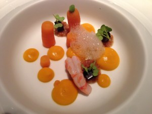 Carrot with deep water shrimp and pickled mustard seeds