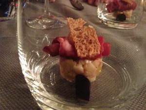 Terrine of pork with Norway lobster, polenta and sweet pepper