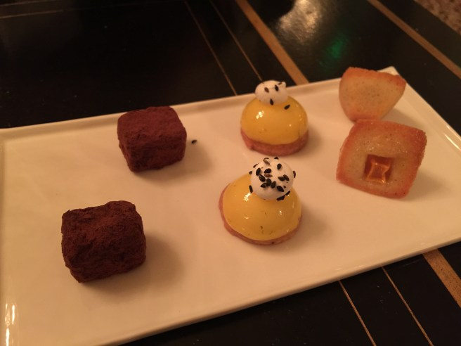 Chocolate truffle, lemon tart, cake