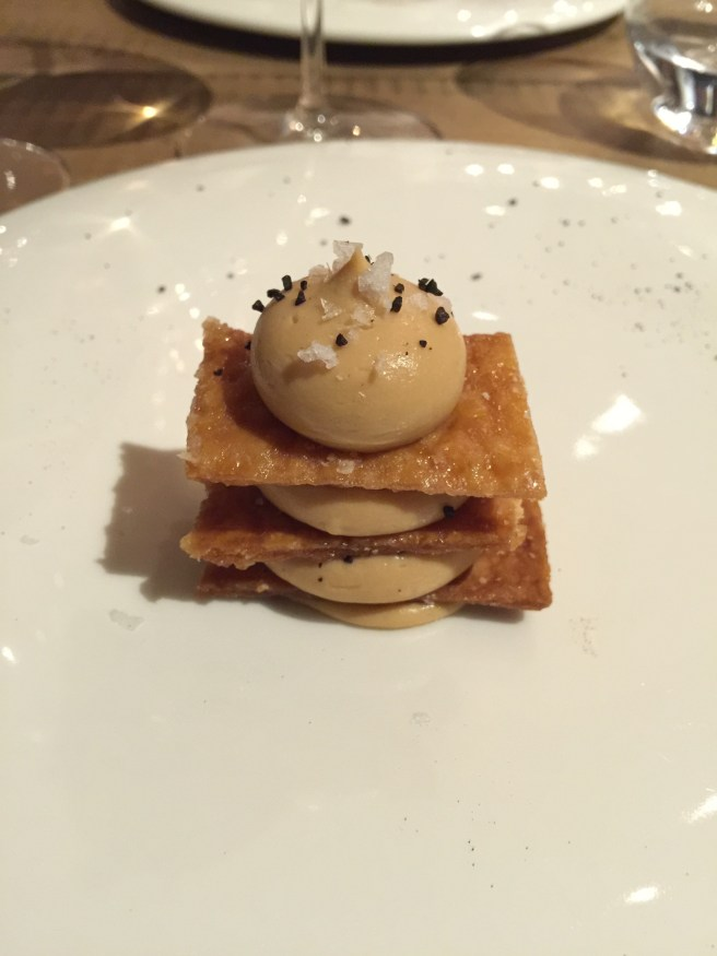 Millefuille, caramelized white chocolate, liquirice and maldon's salt