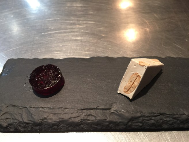 mulled wine jelly; honey and almond nouget