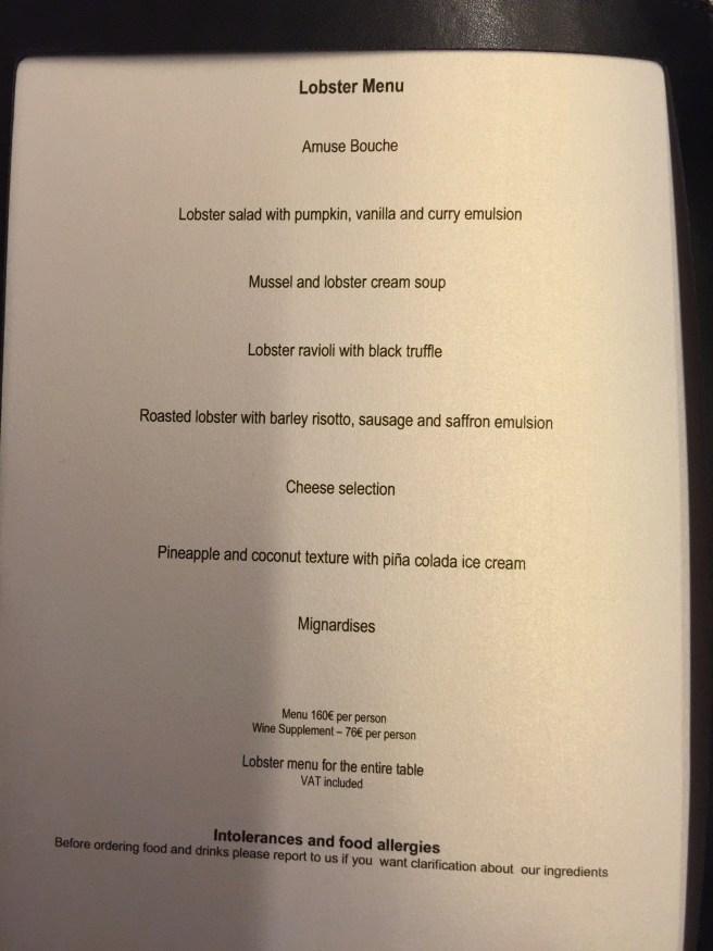 Lobster menu