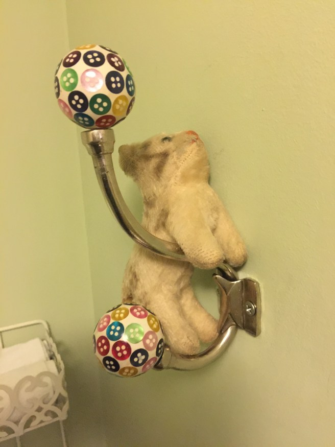 Frankie thought the coat hook was her playground